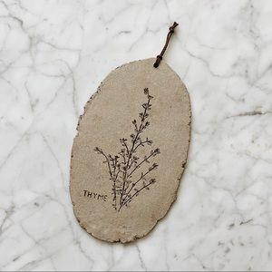 Vintage Handmade Clay Herb Imprint Hanging